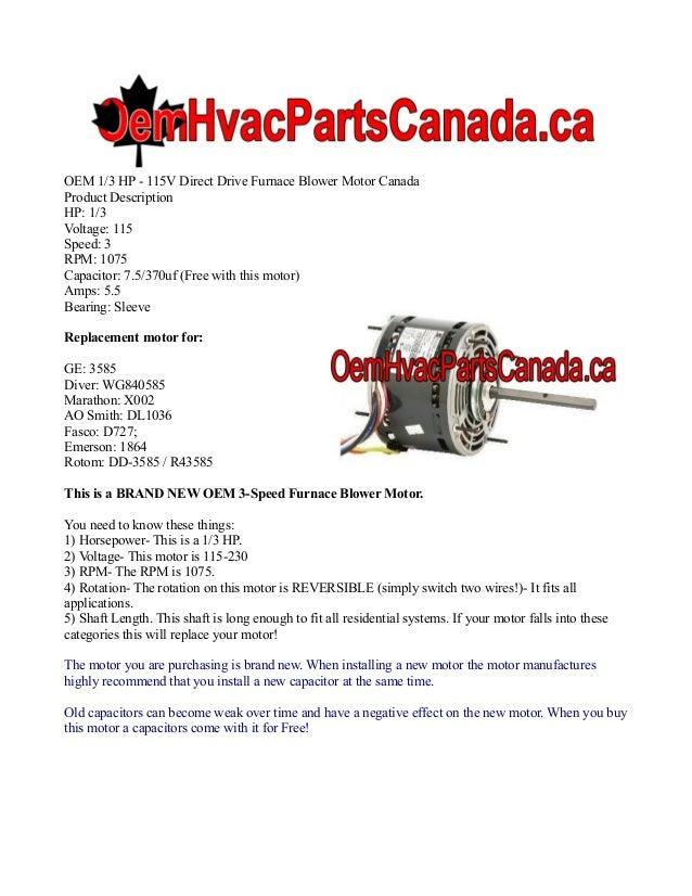 Oem 1 3 Hp 115v Direct Drive Furnace Blower Motor Canada