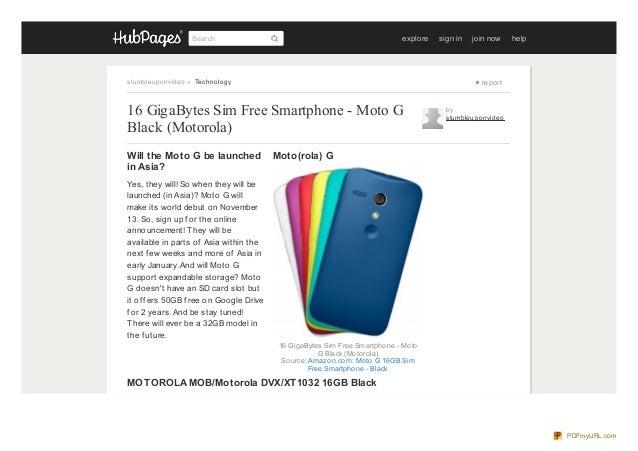 16 GigaBytes Sim Free Smartphone - Moto G Black (Motorola)