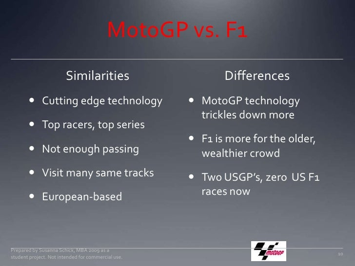 MotoGP vs. F1<br />Similarities<br />Cutting edge technology<br />Top racers, top series<br />Not enough passing<br />Visi...