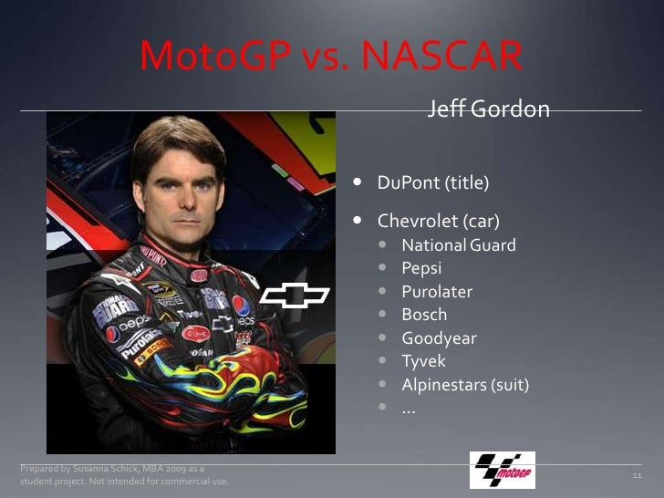 MotoGP vs. NASCAR<br />Jeff Gordon<br />Prepared by Susanna Schick, MBA 2009 as a student project. Not intended for commer...
