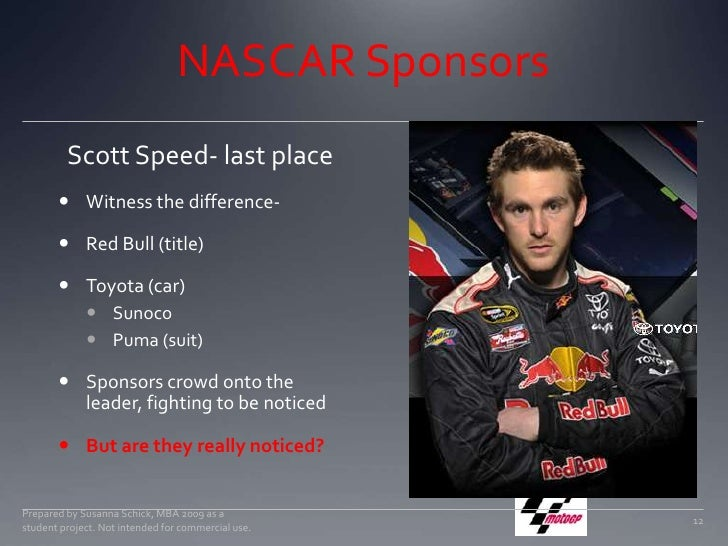 NASCAR Sponsors<br />Witness the difference-<br />Red Bull (title)<br />Toyota (car)<br />Sunoco<br />Puma (suit)<br />Sp...