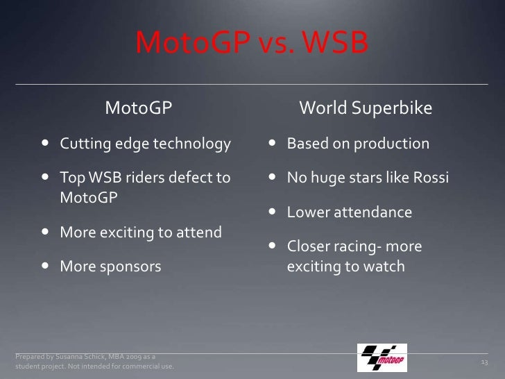 MotoGP vs. WSB<br />MotoGP<br />Cutting edge technology<br />Top WSB riders defect to MotoGP<br />More exciting to attend<...