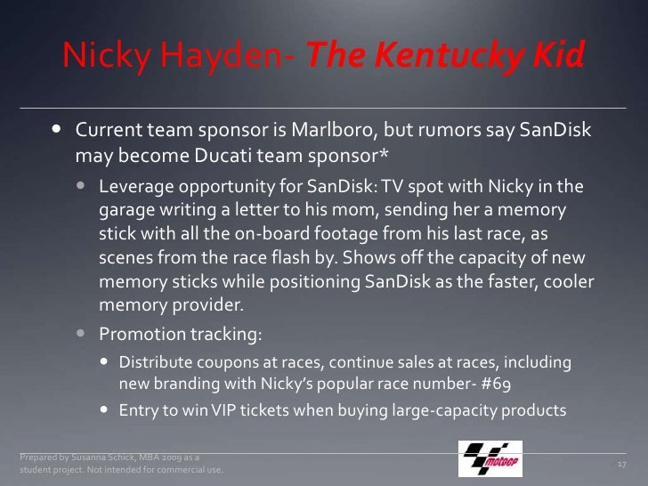 Nicky Hayden- The Kentucky Kid<br />Current team sponsor is Marlboro, but rumors say SanDisk may become Ducati team sponso...