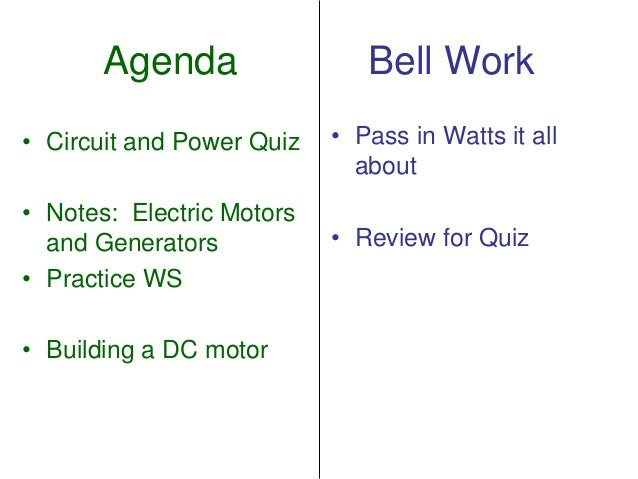 Agenda Bell Work• Pass in Watts it allabout• Review for Quiz• Circuit and Power Quiz• Notes: Electric Motorsand Generators...