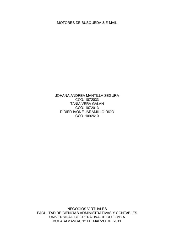 MOTORES DE BUSQUEDA & E-MAIL        JOHANA ANDREA MANTILLA SEGURA                   COD. 1072033               TANIA VERA ...