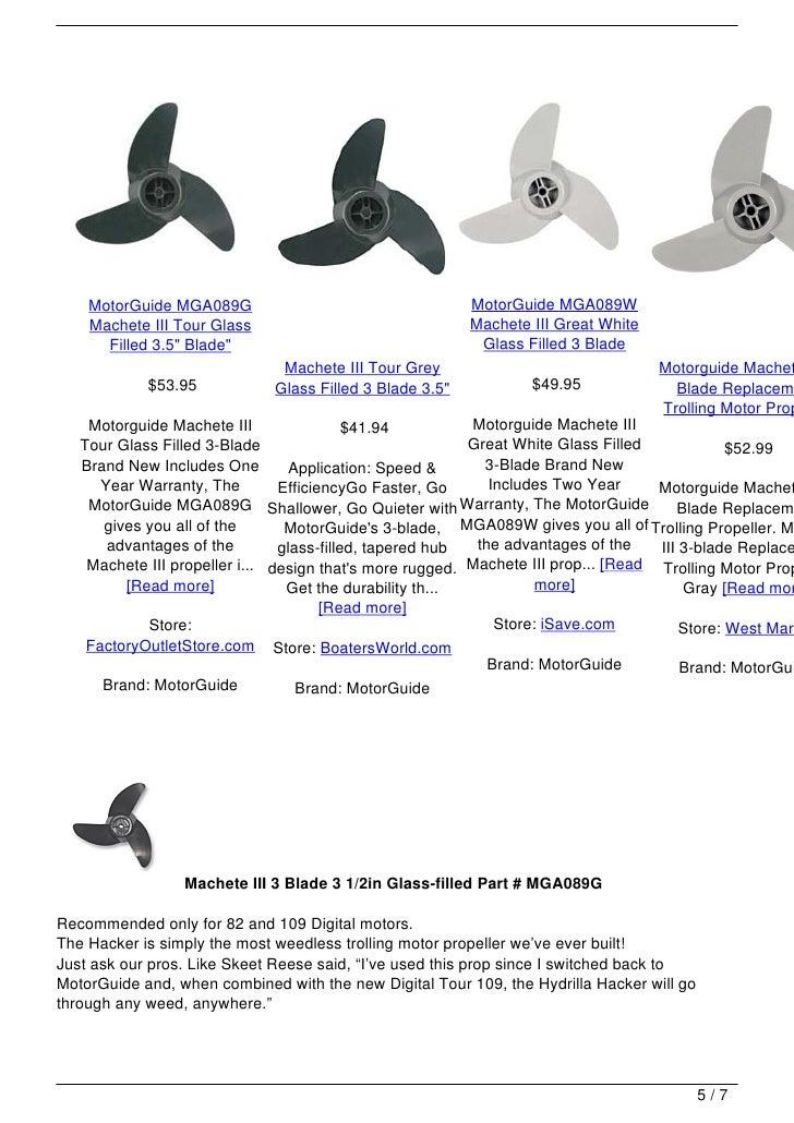 "Grey MotorGuide 3 Blade Machete Prop 3.5/"""
