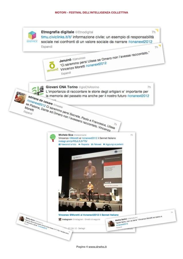 MOTORI - FESTIVAL DELL'INTELLIGENZA COLLETTIVA             Pagina 4 www.drwho.it