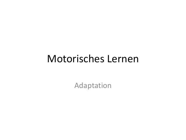 Motorisches Lernen Adaptation