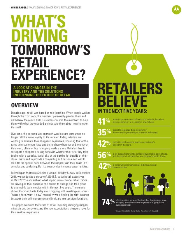 WHITE PAPER WHAT'S DRIVING TOMORROW'S RETAIL EXPERIENCE?  WHAT'S DRIVING  TOMORROW'S RETAIL EXPERIENCE? A LOOK AT CHANGES ...