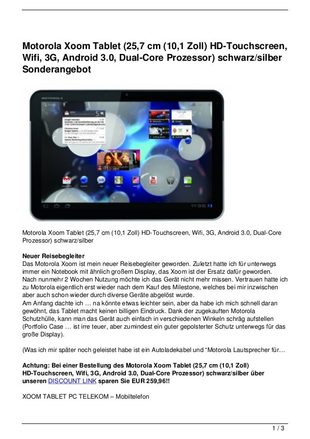 Motorola Xoom Tablet (25,7 cm (10,1 Zoll) HD-Touchscreen,Wifi, 3G, Android 3.0, Dual-Core Prozessor) schwarz/silberSondera...