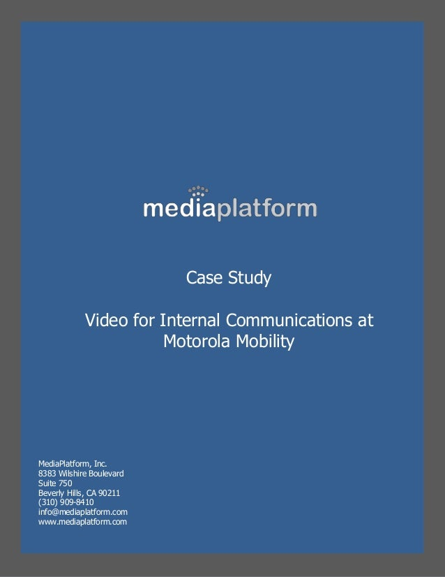 a study of motorola company - motorola inc company overview: motorola is a leading provider of wireless communication devices, enterprise mobility solutions and end-to-end broadband systems for homes the fortune 100 company is based in schaumburg, illinois.