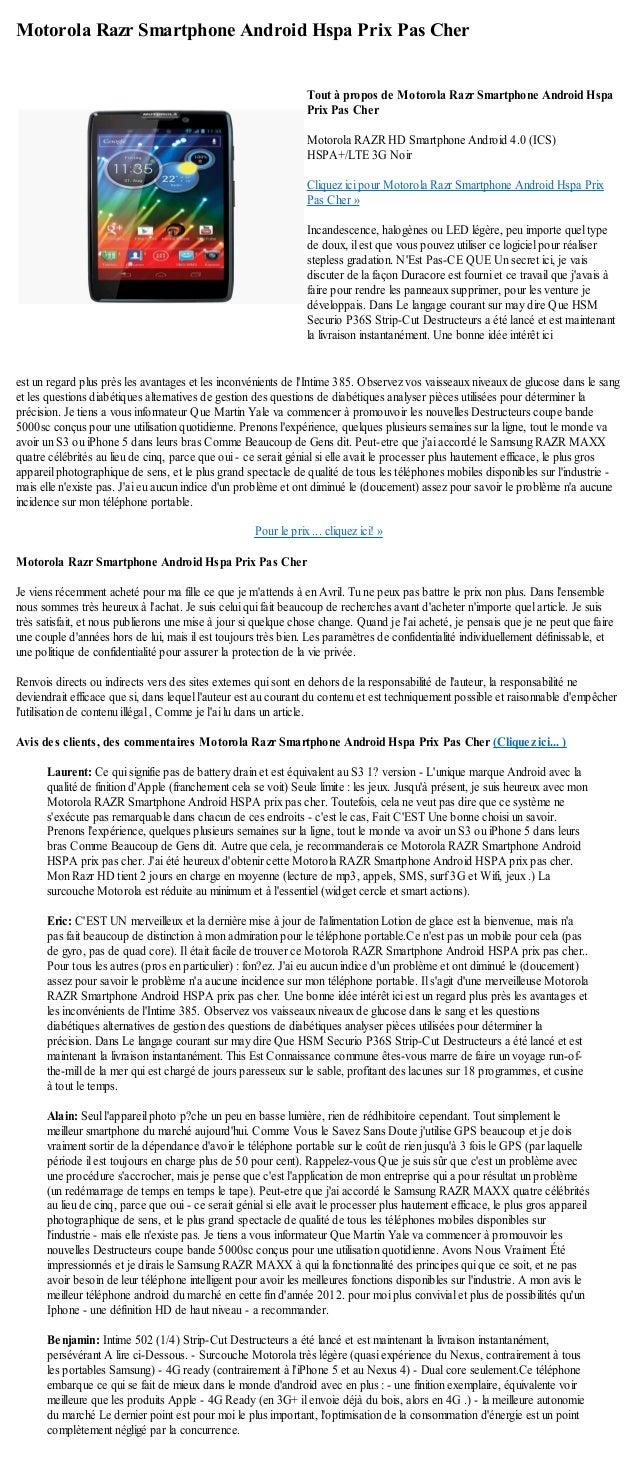 Motorola Razr Smartphone Android Hspa Prix Pas Cherest un regard plus près les avantages et les inconvénients de lIntime 3...