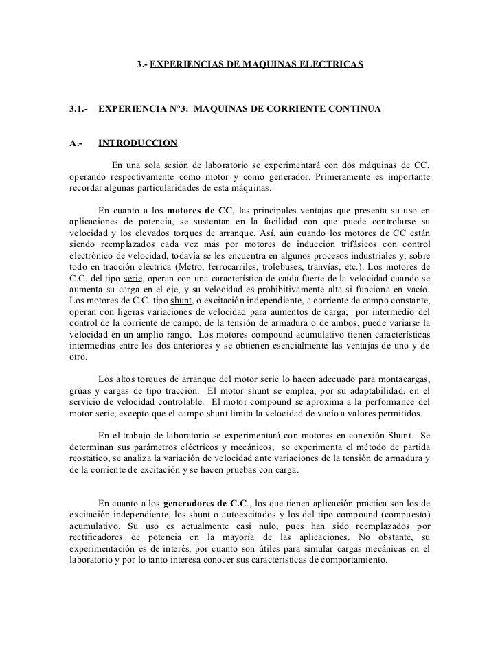 3.- EXPERIENCIAS DE MAQUINAS ELECTRICAS3.1.-   EXPERIENCIA N°3: MAQUINAS DE CORRIENTE CONTINUAA.-     INTRODUCCION        ...