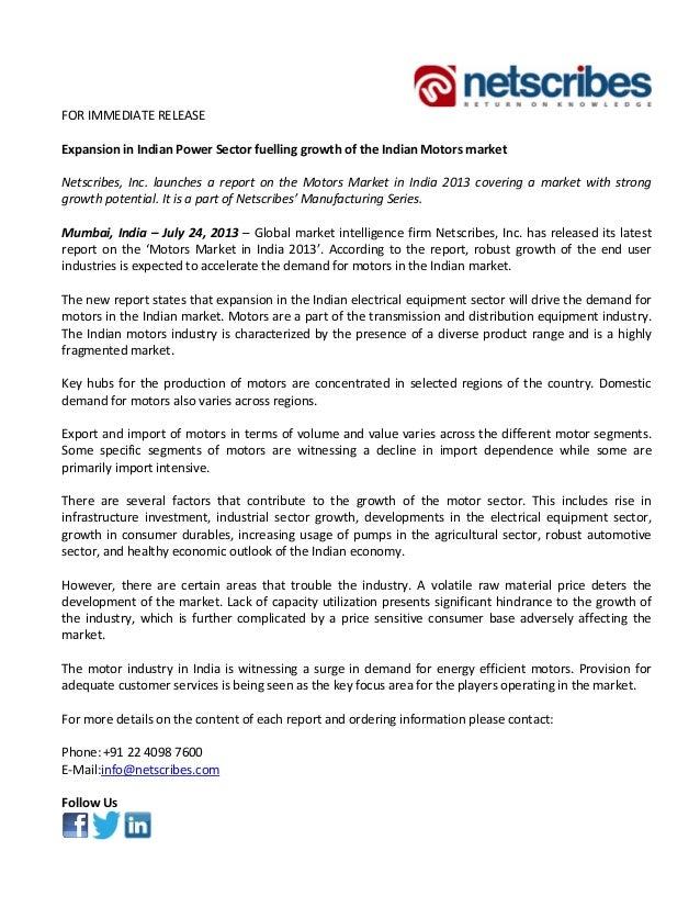 FORIMMEDIATERELEASE  ExpansioninIndianPowerSectorfuellinggrowthoftheIndianMotorsmarket  Netscribes,...