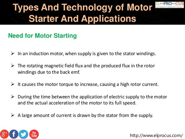 Type of starters in electric motor for Types of motor starters