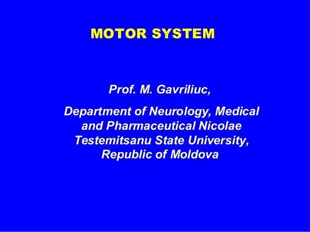 MOTOR SYSTEM  Prof. M. Gavriliuc, Department of Neurology, Medical and Pharmaceutical Nicolae Testemitsanu State Universit...