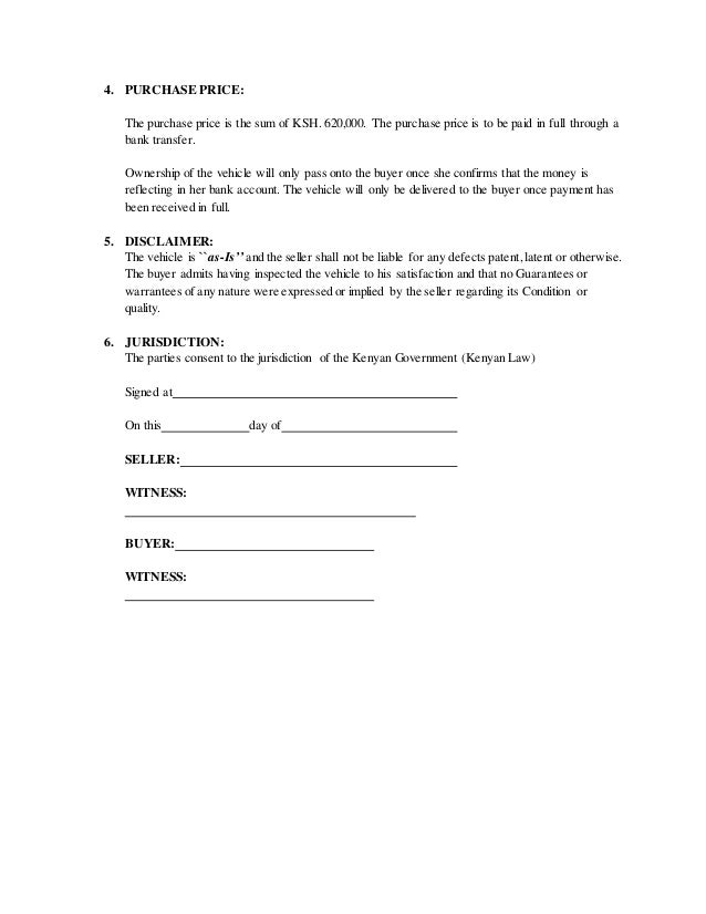 Motor vehicle sale agreement – Car Sale Agreement Sample