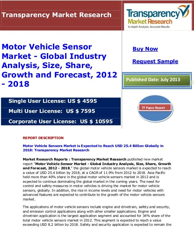 REPORT DESCRIPTION Motor Vehicle Sensors Market is Expected to Reach USD 25.4 Billion Globally in 2018: Transparency Marke...