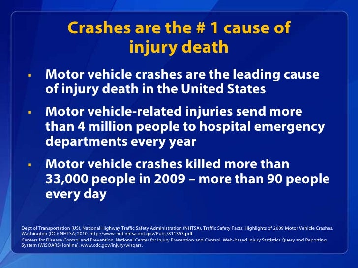Winnable battles motor vehicle injuries Motor vehicle injuries