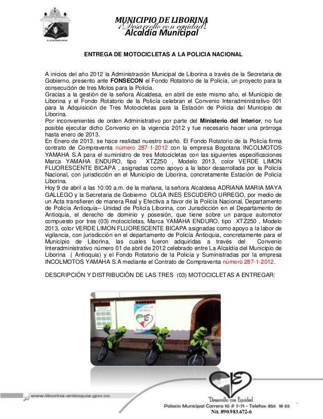 MUNICIPIO DE LIBORINA                           ¡Desarrollo con equidad!                              Alcaldía Municipal  ...