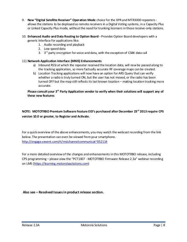 Motorola MotoTRBO Firmware 2 3A Release Notes (June 2014)