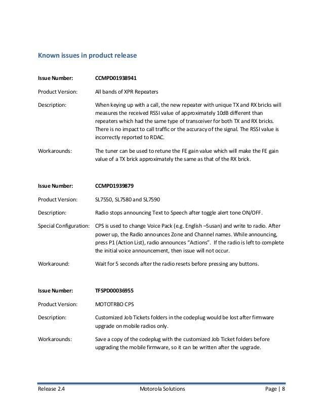 Motorola MotoTRBO Firmware 2 4 Release Notes (November 2014)