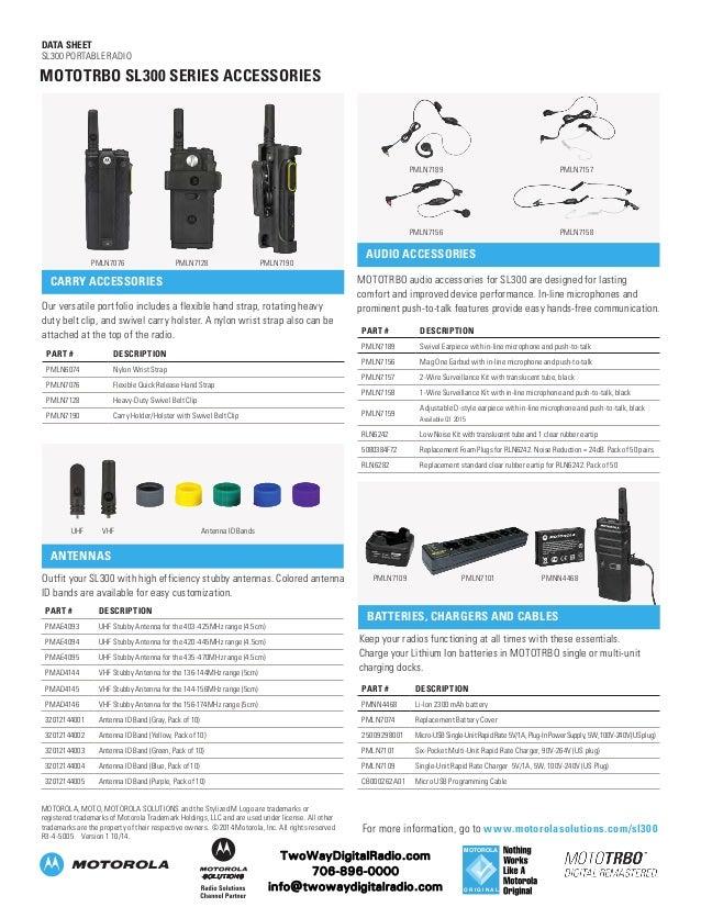 motorola sl300. data sheet sl300 portable radio; 4. motorola sl300 6
