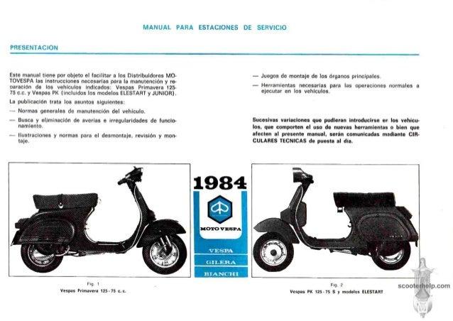 manual de uso de la moto vespa de 125 cc