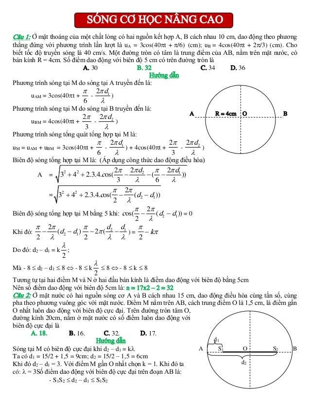 SÓNG CƠ HỌC NÂNG CAO Câu 1: Ở mặt thoáng của một chất lỏng có hai nguồn kết hợp A, B cách nhau 10 cm, dao động theo phương...
