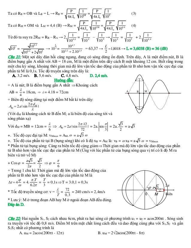 Ta có RB = OB và LB = L → RB =  P 4π.I0  P 1 = LB 4π.I0 10  Ta có RM = OM và LM = 4,4 (B) → RM = Từ đó ta suy ra 2RM = RB ...
