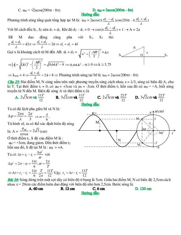 C. uM = √2acos(200t - 8)  D. uM = 2acos(200t - 8) Hướng dẫn: Phương trình sóng tổng quát tổng hợp tại M là: uM = 2acos...