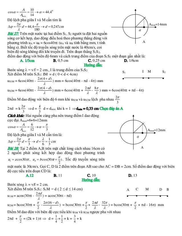 A 10     44,40 Amax 14 Độ lệch pha giữa I và M cần tìm là Amax=14mm 2    d  44,4  d  0,247 cm  180  Bài 27: ...