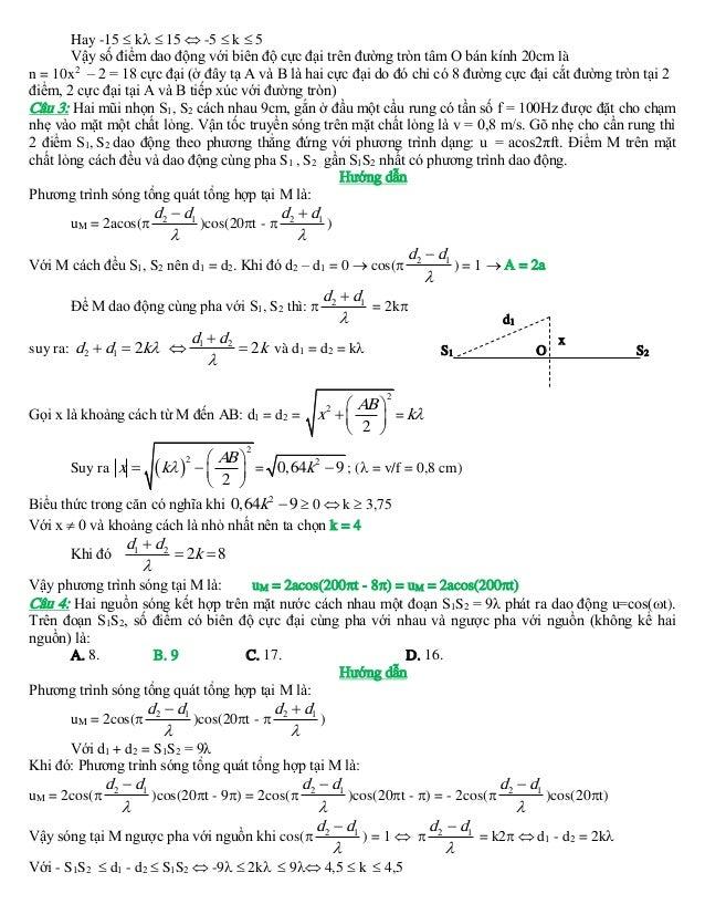 Hay -15  k  15  -5  k  5 Vậy số điểm dao động với biên độ cực đại trên đường tròn tâm O bán kính 20cm là n = 10x2 – ...