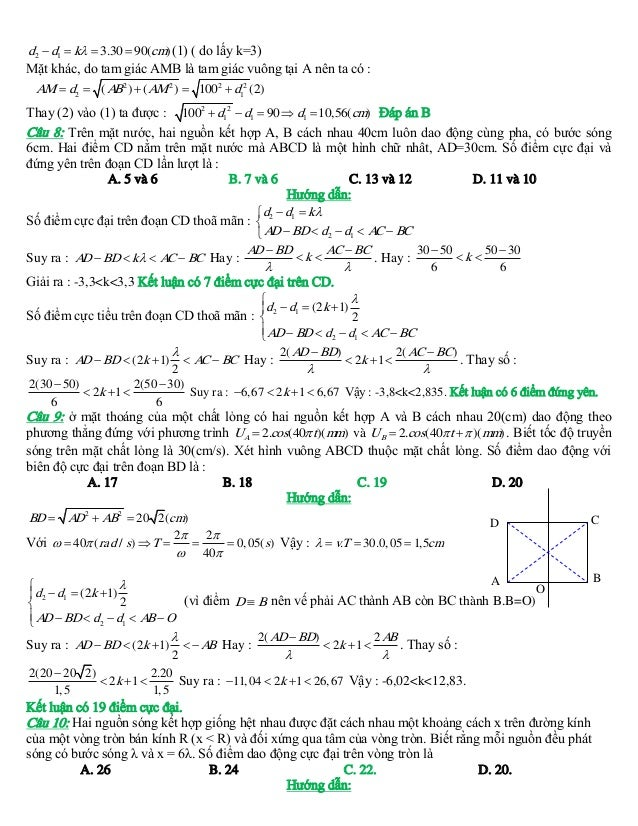 d2  d1  k  3.30  90(cm) (1) ( do lấy k=3) Mặt khác, do tam giác AMB là tam giác vuông tại A nên ta có : AM  d2  ( A...