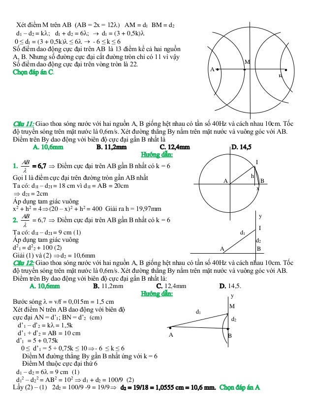 Xét điểm M trên AB (AB = 2x = 12) AM = d1 BM = d2 d1 – d2 = k; d1 + d2 = 6;  d1 = (3 + 0,5k) 0 ≤ d1 = (3 + 0,5k) ≤ 6...