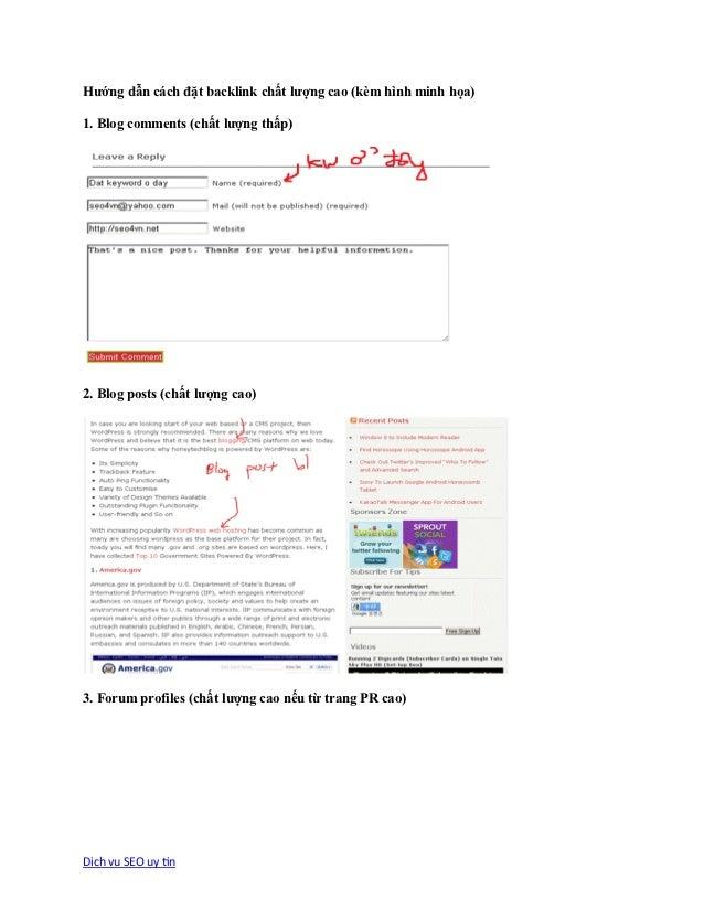 Hướng dẫn cách đặt backlink chất lượng cao (kèm hình minh họa)1. Blog comments (chất lượng thấp)2. Blog posts (chất lượng ...