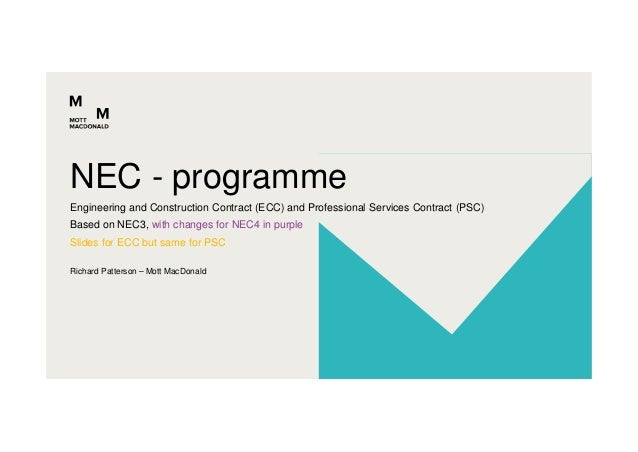Richard Patterson – Mott MacDonald Engineering and Construction Contract (ECC) and Professional Services Contract (PSC) Ba...