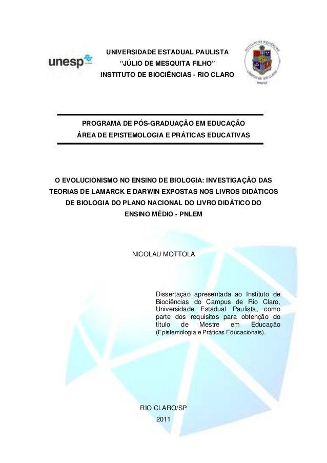 """UNIVERSIDADE ESTADUAL PAULISTA """"JÚLIO DE MESQUITA FILHO"""" INSTITUTO DE BIOCIÊNCIAS - RIO CLARO PROGRAMA DE PÓS-GRADUAÇÃO EM..."""