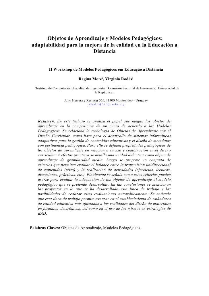 Objetos de Aprendizaje y Modelos Pedagógicos:adaptabilidad para la mejora de la calidad en la Educación a                 ...