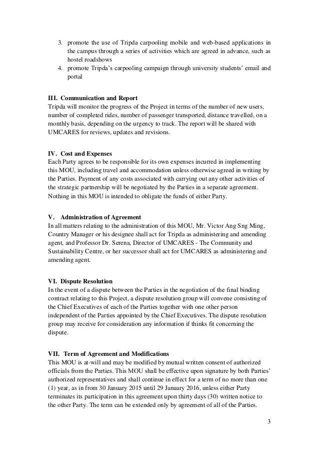 sample memorandum of understanding business partnership