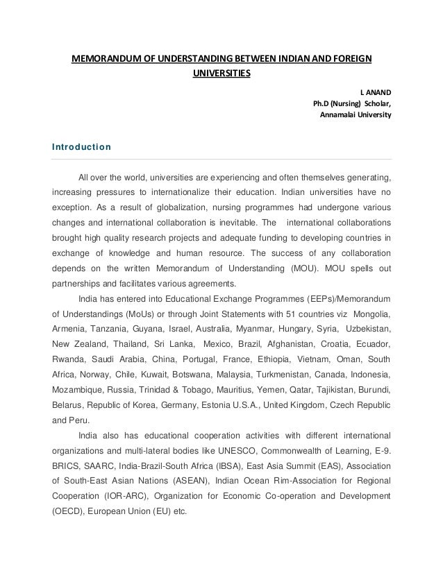 Memorandum Of Understanding Indian And Foreign Universities Nursin