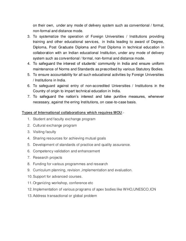 Memorandum of understanding indian and foreign universities nursin 3 on platinumwayz