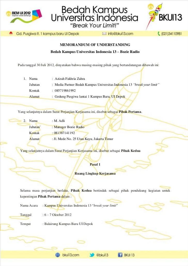 MEMORANDUM OF UNDERSTANDING                       Bedah Kampus Universitas Indonesia 13 – Bozie RadioPada tanggal 30 Juli ...