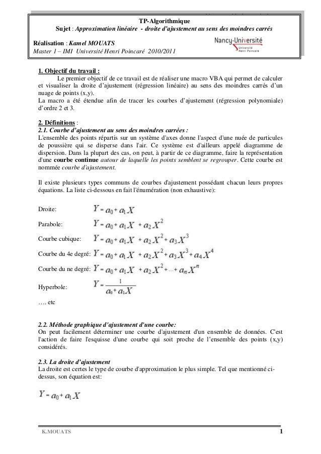 TP Algorithmique Master 1 – IMI 2010/2011   TP-Algorithmique CourbesSujet : Approximation linéaire - droite VBA         d'...