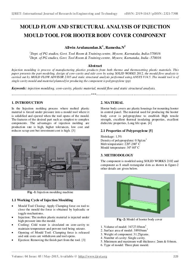 Mould flow and structural analysis of injection mould tool