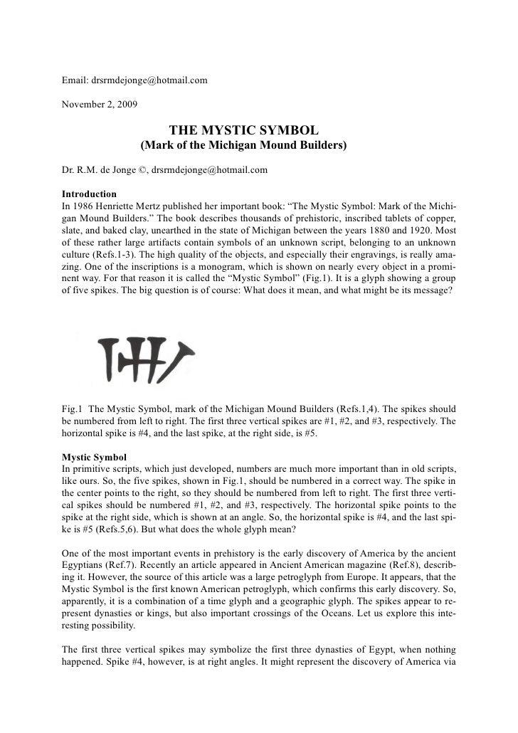 Email: drsrmdejonge@hotmail.com  November 2, 2009                             THE MYSTIC SYMBOL                     (Mark ...