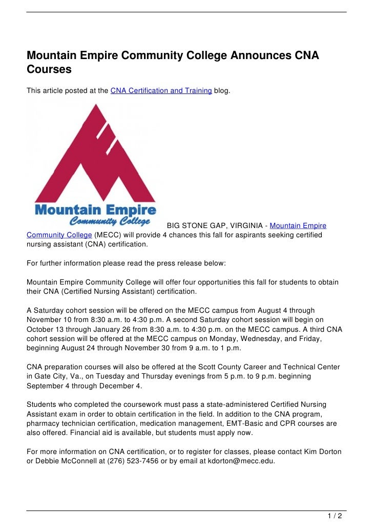 Mountain Empire Community College Announces Cna Courses
