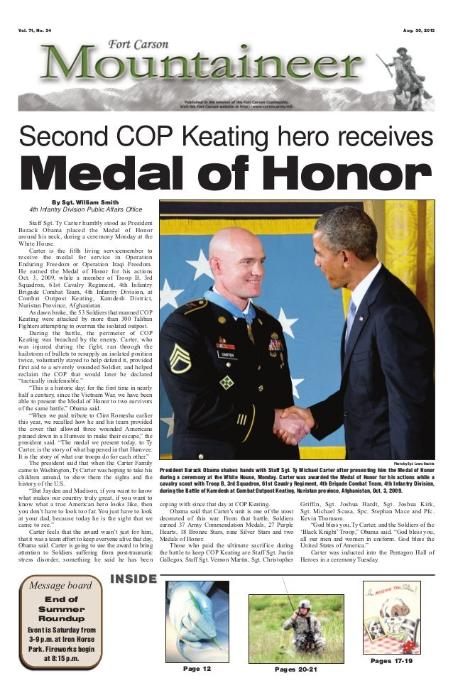 By Sgt. William Smith 4th Infantry Division Public Affairs Office Staff Sgt. Ty Carter humbly stood as President Barack Ob...