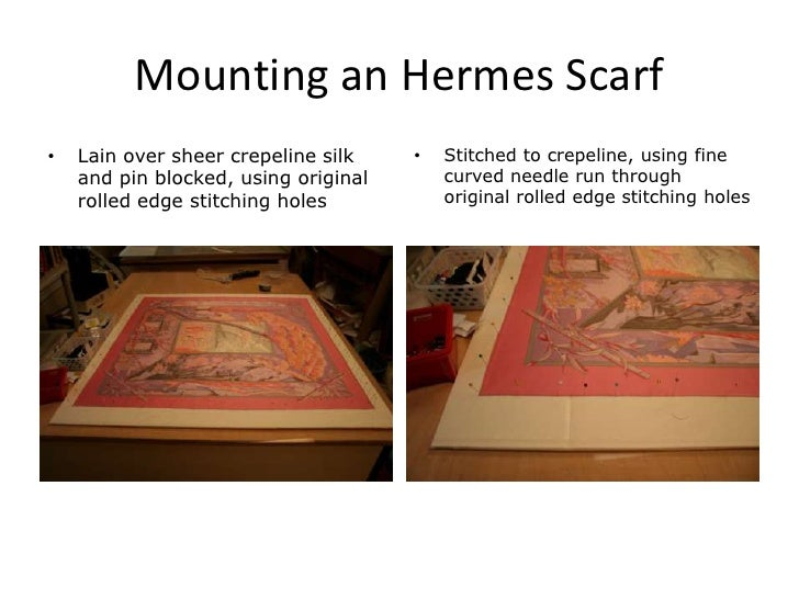 mounting an hermes scarflain over sheer crepeline silk and pin blocked