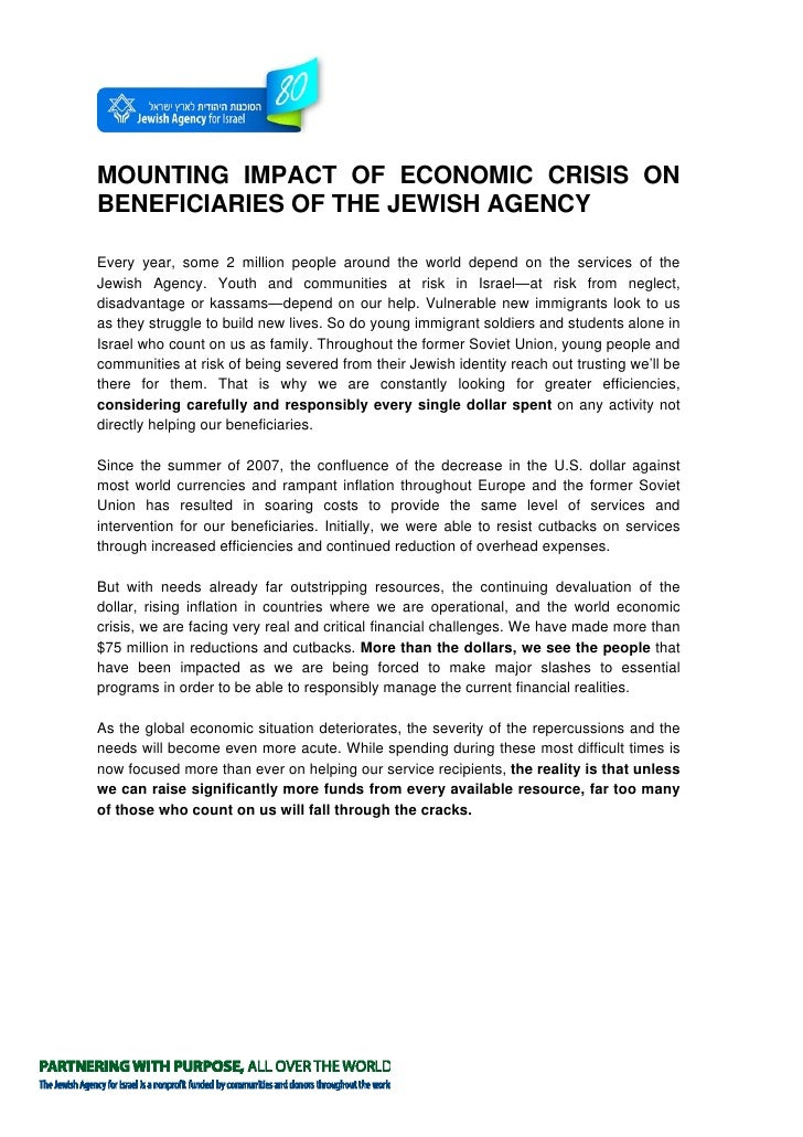 MOUNTING IMPACT OF ECONOMIC CRISIS ON BENEFICIARIES OF THE JEWISH AGENCY  Every year, some 2 million people around the wor...
